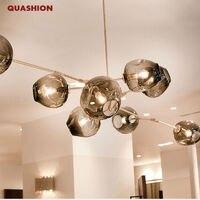 Glass Shade Retro Lindsey Adelman Pendant Lamp Fixtures Vintage Loft Industrial Pendant Lights Black Gold Bar