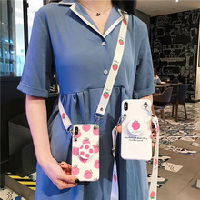 strawberry strap tpu case for iphone 6 6s 8 7 plus X XR XS MAX cover Anti-knock holder soft silicon phone bag capa fundas