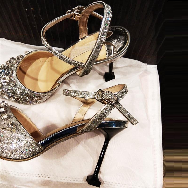 Hochzeit Frauen Sommer 2018 Kristall Slivery Pailletten Sandalen Heels Sexy Schnalle Dünne Pumpe High Schuhe a7nUwEUSxq