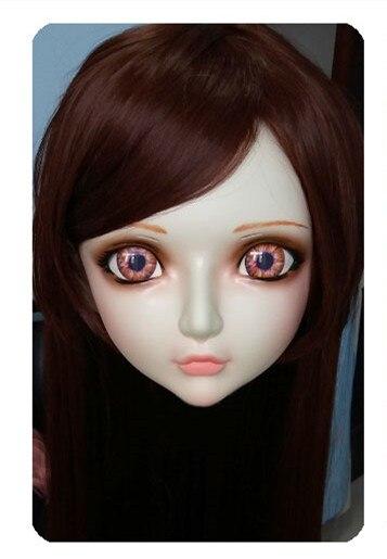 Dynamic Women/girl Sweet Resin Half Head Kigurumi Bjd Mask Cosplay Japanese Anime Lifelike Lolita Mask Crossdressing Sex Doll gl022