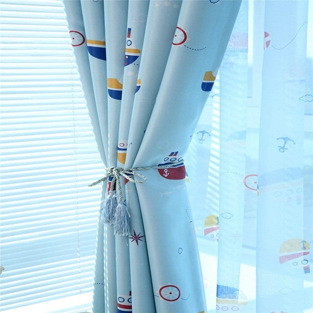Blue Cartoon Blackout Curtains For Children S Room Finished Curtain Fabric Tulle Boys Cortina In The Nursery Wp179 20