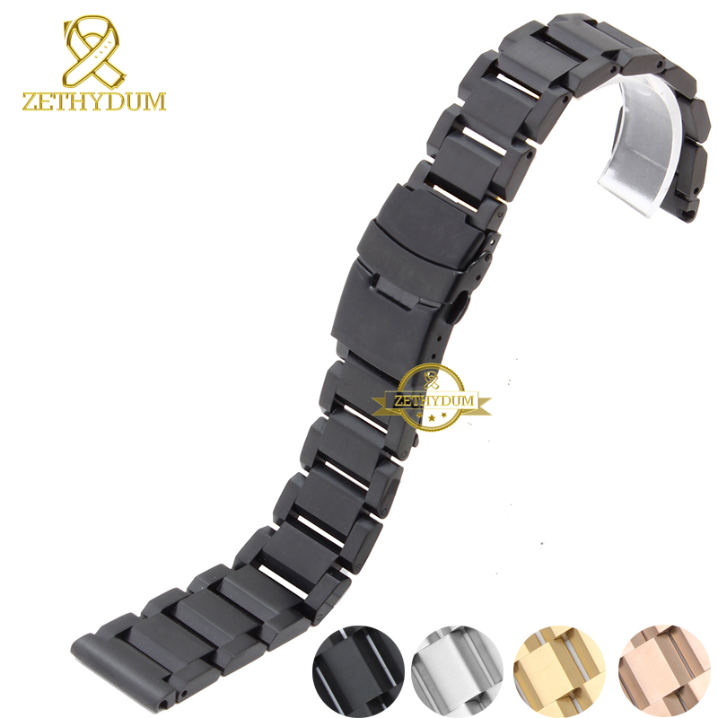 Stainless steel bracelet solid metal watchband insurance clasp watch strap18 20 22 24mm wristwatches band black silver rose gold 16 18 20 22 mm silver black gold rose gold ultra thin mesh milanese loop stainless steel bracelet wrist watch band strap belt