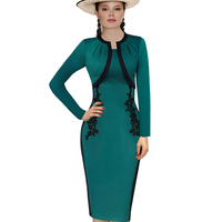 Autumn Winter Women Dress 2015 Celebrity Elegant Business Office Pencil Dress Vintage Lace Stretch Bodycon Club