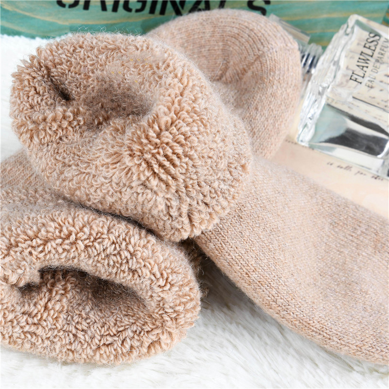 3 pairs 2017 winter new Thick rmerino wool   socks   women's winter tube terry   socks   solid color super thick snow   socks   woolen warm