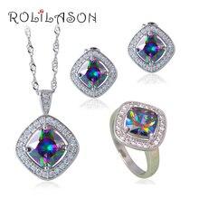 Gota Estampado Plata Esterlina Rainbow mystic Joyería Conjuntos Pendientes/Colgante/Collar/Anillos Para Mujeres JS663