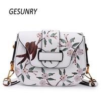 Gesunry Fashion Split Leather Women Crossbody Luxury Brand New Design Printing Flap Bag Shoulder Bags Women