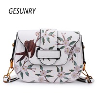 Gesunry Fashion Split Leather Women Crossbody Luxury Brand New Design Printing Flap Bag Shoulder Bags Women