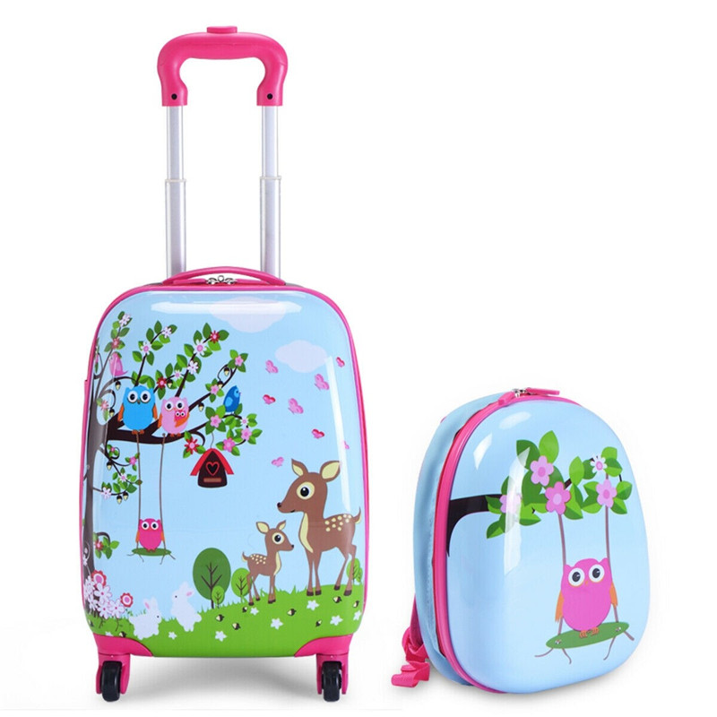 Cute Cartoon Kids Pink Luggage Set Waterproof Rolling ABS Durable Suitcase Students Travel Suitcase With Wheel Free Shipping