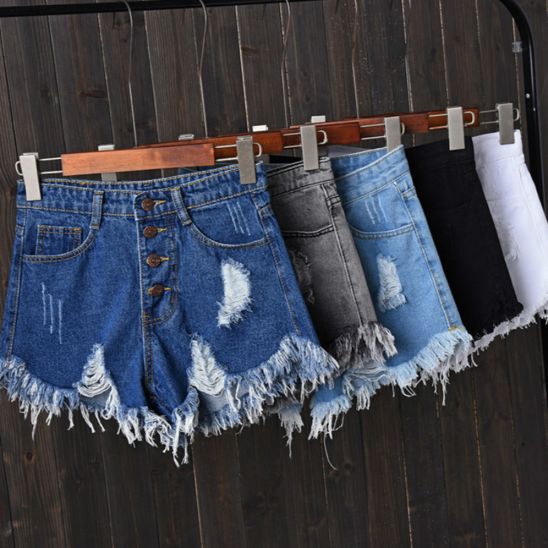2020 new Shorts Jeans for Women Summer Fashion Ladies Sexy Mini Short Femme Tassel Hole Denim Shorts with High Waist Black Blue