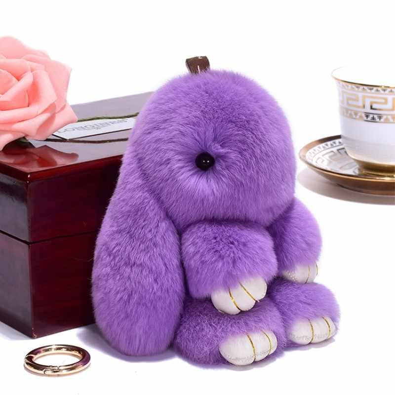 Simulação de 15 CENTÍMETROS Pluff bonito chaveiro coelho Rex pele de coelho keychain ladies bag toy boneca fluffy Pom Pom bonito pompom keychain