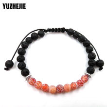 YUZHEJIE 2018 Drop Shipping 6mm tiger eyes spar adjustable Bracelet Men Natural Black Lava Volcanic Stone Beaded Bracelets Women(China)