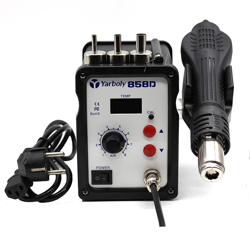 Smart 8586 2 In 1 Hot Air Smd Rework Station Solder Blower Heat Gun 700w 220v Led Digital Tools Welding Equipment Soldering Iron Welding Tool Esd 3 Nozzles
