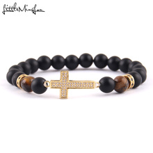 WML Luxury fashion Men bead Bracelet Micro Pave CZ rims & cross Charm Jesus bracelets bangles for men Jewelry