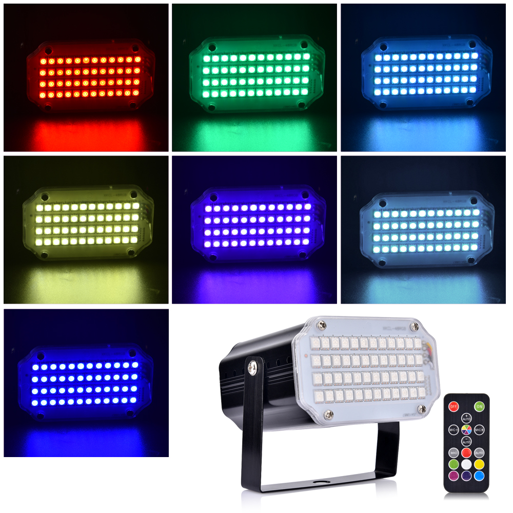 Strobe Stage Light Disco Bar Music Party 48 RGB Remote Control Mini Stage Lights Festival Glow Party Supplies Carnival Lighting (12)