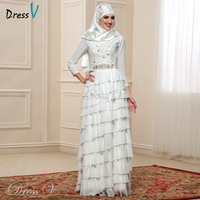 New Design Chiffon Long Sleeve Muslim Wedding Dresses Hijab 2016 Vintage Dubai Beach Bridal Gowns Kaftan