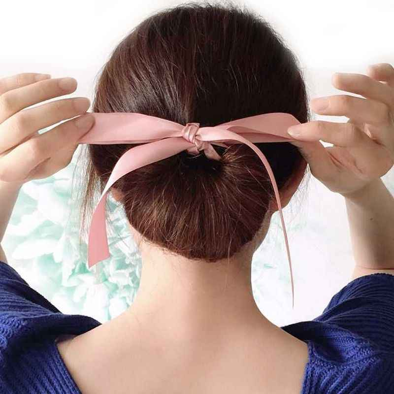 1Pcs 2019 Mode Vrouwen Hoofdband Lady Meisjes Magic Gereedschap Schuim Spons Rommelig Donut Bun Haar Stijl Bows Hoofddeksels Haar accessoires