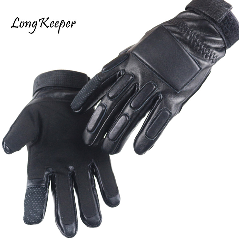 High Quality Genuine Leather Gloves Men Tactical Gloves Military Winter Warm Kiss Screen luvas Outdoor eldiven By Long Keeper