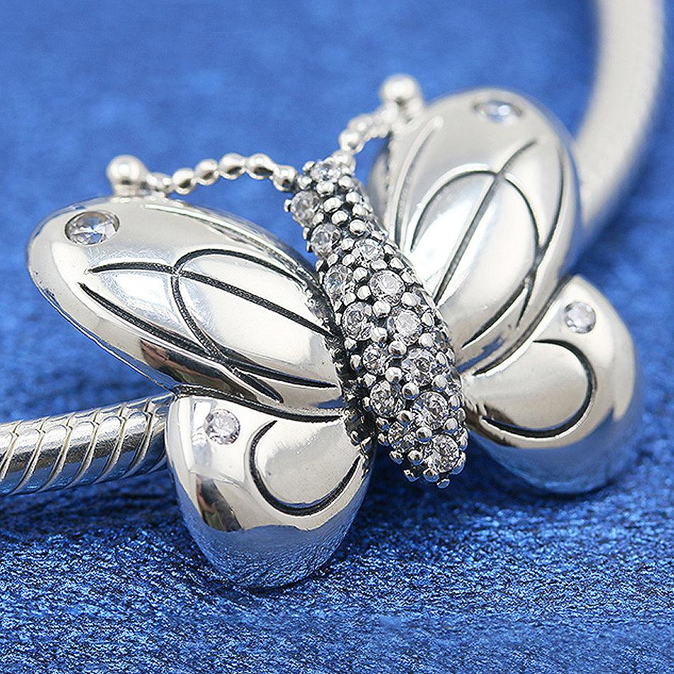 New 925 Sterling Silver Bead Charm Decorative Butterfly With Crystal Beads Fit Pandora Bracelet Bangle Diy JewelryNew 925 Sterling Silver Bead Charm Decorative Butterfly With Crystal Beads Fit Pandora Bracelet Bangle Diy Jewelry