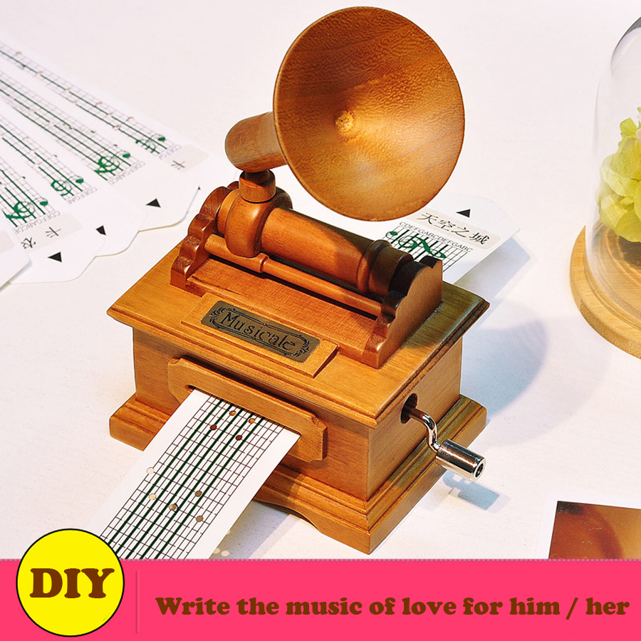 Vintage Phonograph Wooden Music Box Musical, DIY Hand crank Making Your Own Songs for Love Girl or Boy Friend Gifts image