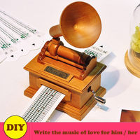 Vintage Phonograph Wooden Music Box Musical, DIY Hand crank Making Your Own Songs for Love Girl or Boy Friend Gifts