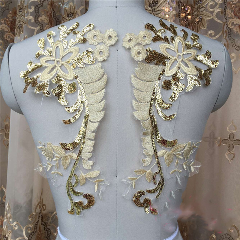 6Pieces Gorgeours Beaded Glitter Sequins Lace Applique Champagne Sequined Patch Motif Costume Wedding in Lace from Home Garden