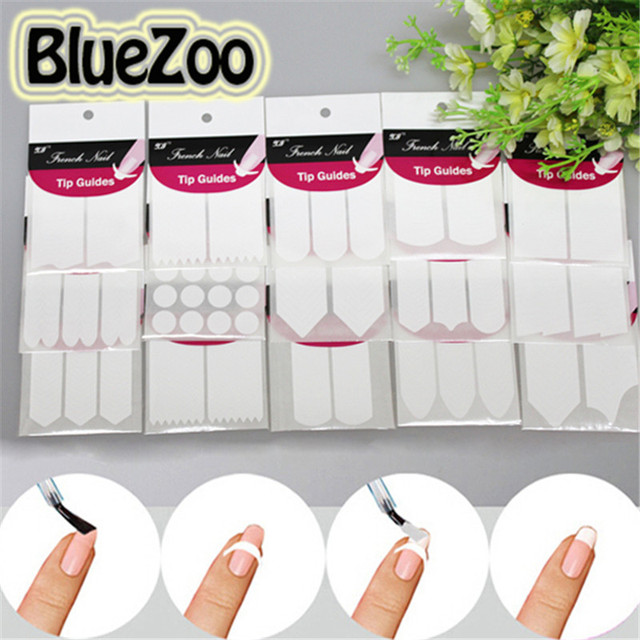 BlueZoo 1 Sheet Nail DIY Sticker Tips Guide French Manicure 15 ...