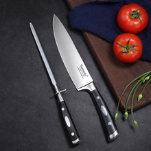 SUNNECKO 2PCS Set  8.5 Kitchen Chef Knife 8 Sharpener 1.4116 Steel Sharp Blade Black ABS Handle Knives Gift