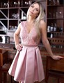 Sheer O-Neck Pink Satin Cocktail Dresses for Girls vestido de festa curto Lace Appliques Sheer Back Sexy Short Party Dress S1061