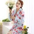 Осенью и зимой толстые коралловые флис халат простой благородный чистый цвет фланель пижамы женщин халат дом ночной халат