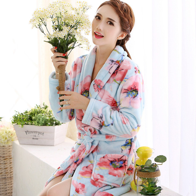 Autumn and winter thick coral fleece bathrobe simple noble pure color flannel pajamas women bathrobe home service night robe