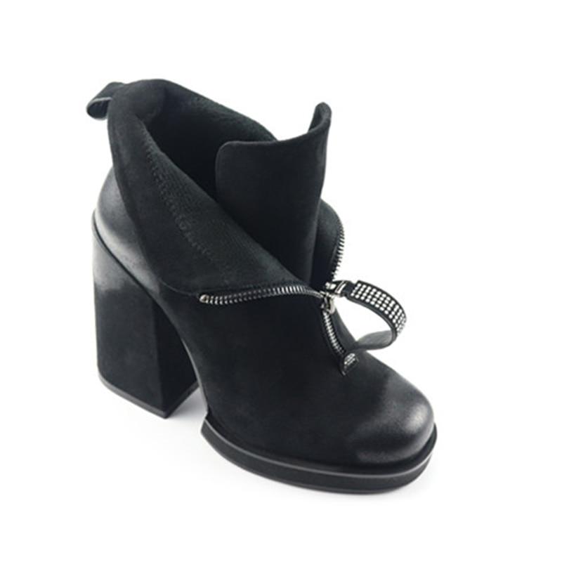 Tamaño Redondo Alta Club Estilo Pie Elegante Las Cuadrado 9 Black D0712 Agradable Botas Dedo Nuevo Desgaste Tacón 5 Mujeres Negro Yifsion Del Zapatos De OwnxHaY75