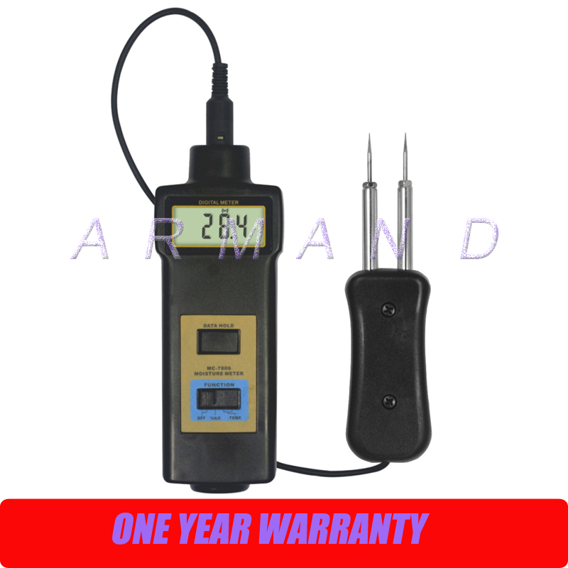 Moisture Meter MC-7806 for wood fiber materials wooden articles tobacco cotton paper building soil with Temperature Tester mc 7806 digital moisture analyzer price pin type moisture meter for tobacco cotton paper building soil