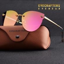 New женщин поляризованных солнцезащитных очков марка дизайнер дамы ретро cat eye солнцезащитные очки женский моды зеркальные очки оттенки фиолетового