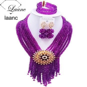 Laanc Latest Purple Nigerian Wedding Beads African Jewelry Set Brides Bridesmaids Bridal Jewelry Sets S8RSK004