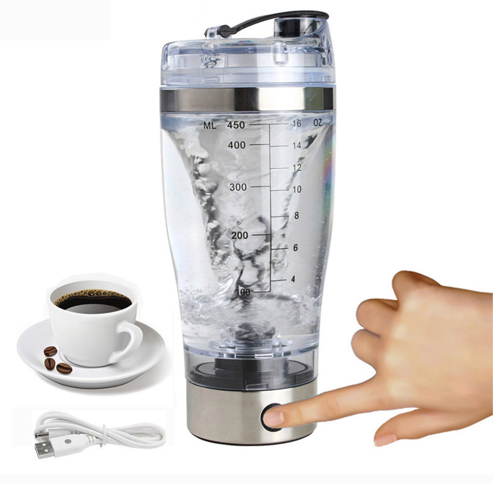 2018 450ML TORQ Electric Protein Shaker USB Shaker Bottles Milk Coffee Blender Water Bottle Movement Vortex Tornado Smart Mixer