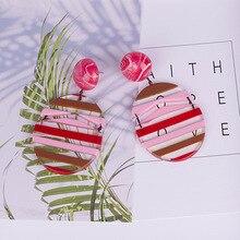 2019 Fashion Earrings For Women Stripe Resin Acrylic Geometric Round Transparent Casual Personality Bohemian