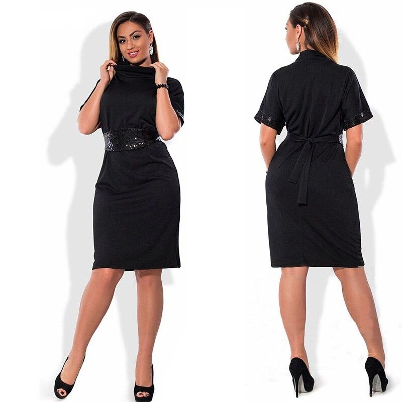 6Xl 5Xl Women Dress 2018 Plus Size Short Sleeve Office -1923