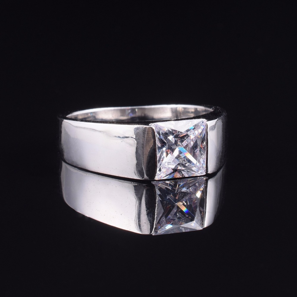 Men's Eternity 925 Sterling Silver Square Diamond Simulated CZ Stone Solitaire Ring Size 8-12