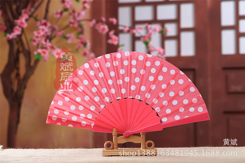 50pcs Japanese Polka Dots Design Spanish Plastic Hand Folding Fan With Assorted Colors Wedding Party Favors