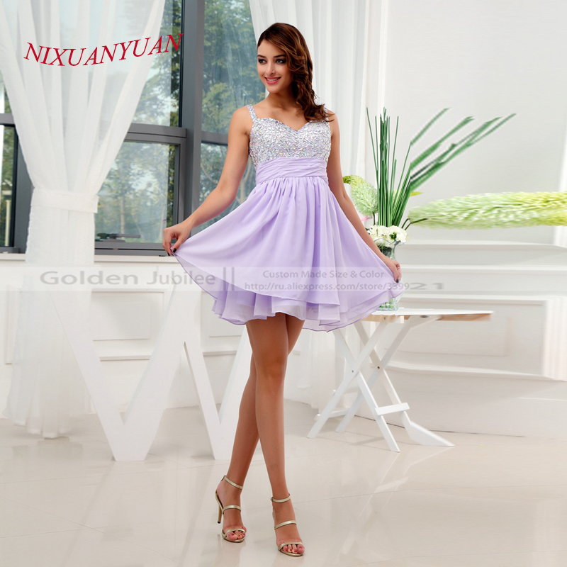 NIXUANYUAN Luxury Sweetheart Mini Chiffon Beaded Crystals Sexy   Cocktail     Dresses   2017 A-Line Homecoming   Dress   Party   Dress