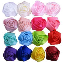 60pcs/lot 45-50mm satin rolled rosette rose flower girls hair accessories artificial ribbon flower for girl