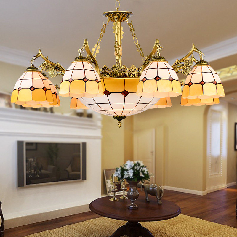 Tiffany Baroque Stained Glass Suspended Luminaire Lamps E27 Chain Pendant lights Lighting for Home Parlor Dining Room restaurant