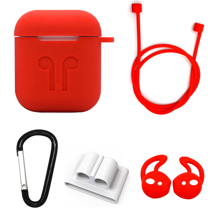 <font><b>5</b></font> <font><b>in</b></font> <font><b>1</b></font> Headphones Silicone <font><b>Case</b></font> Accessories Kit for <font><b>Airpods</b></font> Headphones Protective Cover Sleeve with Anti-Lost Rope Earplug image