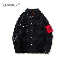 ABOORUN Punk Men's Oversized Denim Jackets Reflective Rivets Ripped Jeans Coat Streetwear Male Fashion Brand Jackets x1137