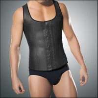 Latex Waist Trainer Vest for Men Black Waist Cincher Firm Tummy Slimming Male Waist Cincher Corset Men Waist Belly Shaper