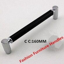 128mm shiny silver kitchen cabinet handle pull black dresser drawer pull knob 5″ chrome black modern furniture hardware handles