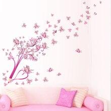 Pensil Bunga Kupu-kupu Merah Muda Latar Belakang Pohon Dinding Stiker untuk  Ruang Tamu Kamar Tidur Dekorasi Rumah Wallpaper Mura. d5f835bbf0