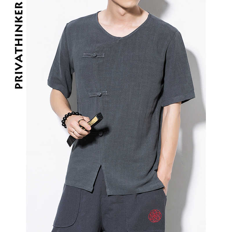 中国風店男性服 2019 リネンコットンボタン装飾男半袖 Tシャツ男性中国風の Tシャツプラスサイズ
