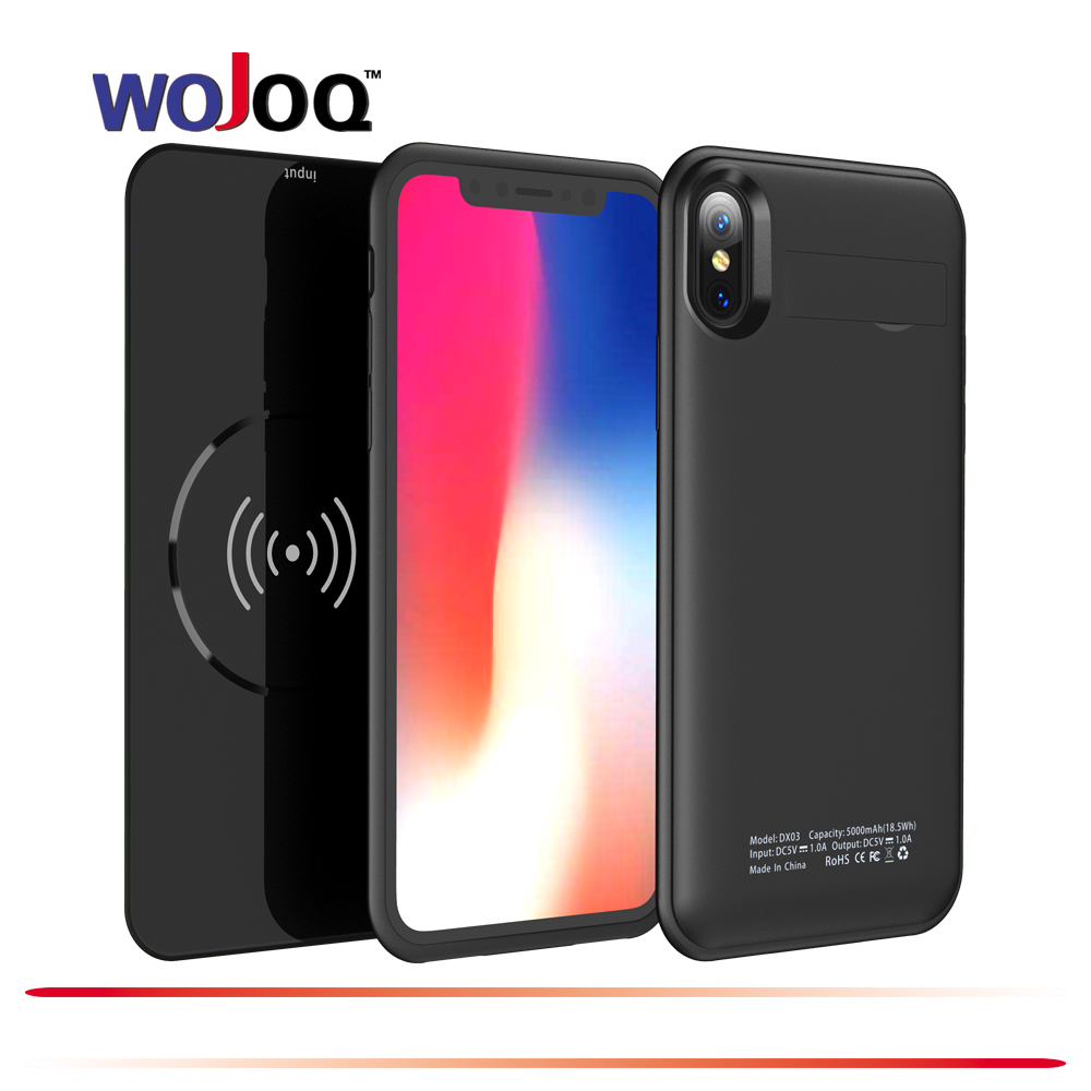 WOJOQ External Wireless Charging Case For iphone X 5000mAh Battery Power Bank Case for iphone Battery Charger Case
