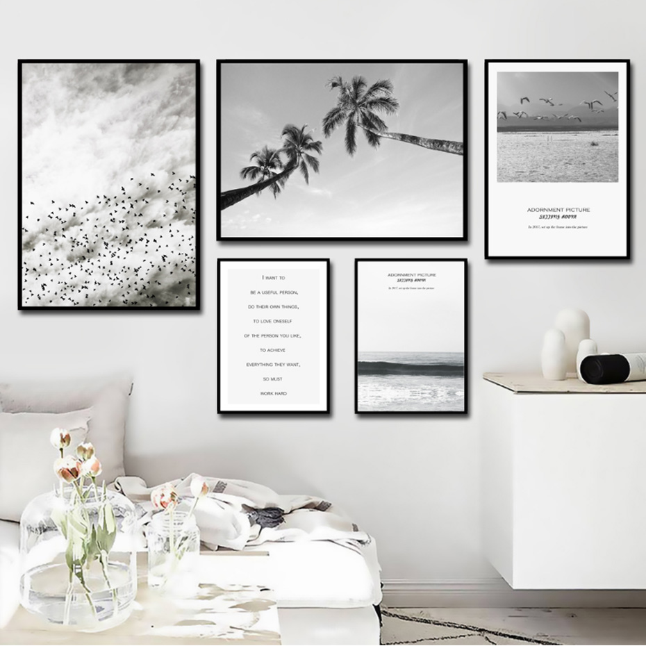 Nordic Landscape Quotes Canvas Painting Black White Poster Sky Print ...